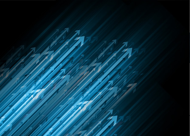 Zukünftiger technologiehintergrund des blauen pfeiles