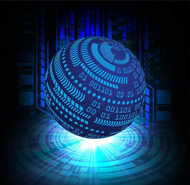 Zukünftiger technologiehintergrund des blauen weltcyberstromkreises