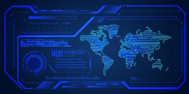 Zukünftiger technologiehintergrund des hud-blauen weltcyberstromkreises