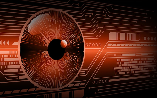 Zukünftiger technologiekonzepthintergrund des orange auges cyber-stromkreises