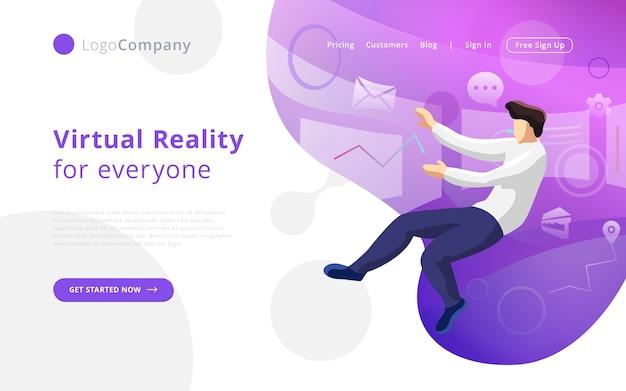 Zukünftiger technologiemann in die virtuelle realität, die schnittstelle berührt und redigiert
