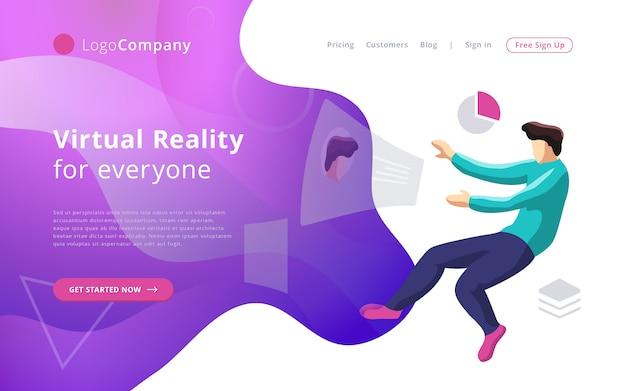 Zukünftiger technologiemann in die virtuelle realität, die schnittstellenwebsiteschablone berührt und redigiert