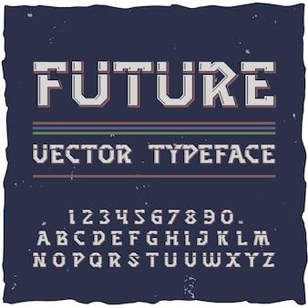 Zukünftiges alphabet mit retrofuturismus-schriftelementen isolierte ziffern und buchstaben