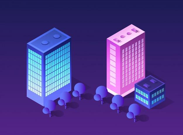 Zukünftiges futuristisches isometrisches 3d