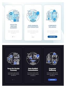 Zukünftiges office design onboarding mobiler app-seitenbildschirm mit konzepten