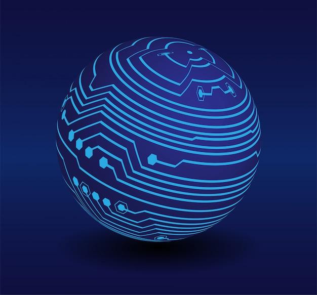 Zukünftiges technologiekonzept des blauen cyberweltstromkreises