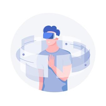 Zukünftiges technologiekonzept. junger mann mit vr-headset mit berührender vr-schnittstelle. trendy flacher stil.