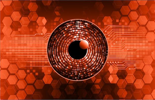 Zukunftstechnologie-konzepthintergrund der cyber-schaltung des orange auges