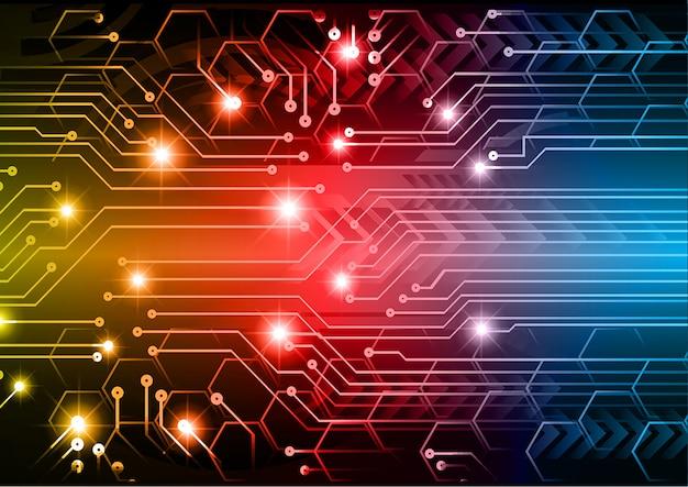 Zukunftstechnologie-konzepthintergrund des cyberstromkreises des blauen rotes