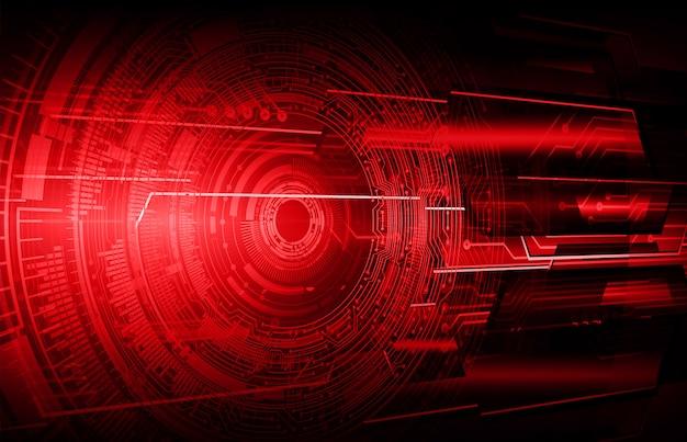 Zukunftstechnologie-konzepthintergrund des cyberstromkreises des roten auges