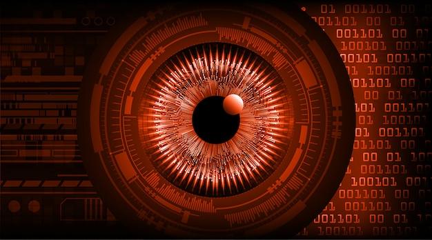 Zukunftstechnologie-konzepthintergrund des roten auges cyber-stromkreis