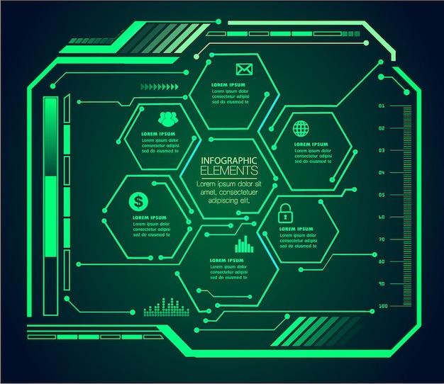 Zukunftstechnologiekonzept des hud-cyber-stromkreises infographic