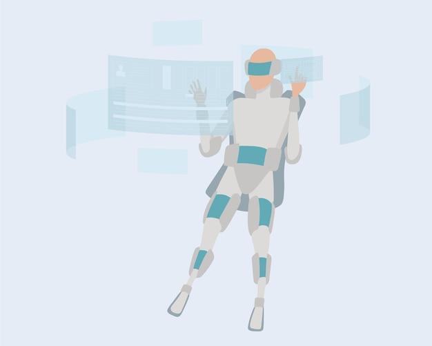 Zukunftstechnologiekonzept. mann, der am computer in virtual-reality-brille arbeitet. vektor-illustration.
