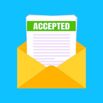 Zulassungsbescheid der hochschule oder universität mit umschlag und papierbögen dokument-e-mail