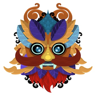 Zulu oder aztekische maskenvektorikonen. mexikanische indische inka-kriegersmasken lokalisiert auf weißem hintergrund