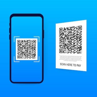 Zum bezahlen scannen. smartphone zum scannen von qr-code auf papier für details, technologie und geschäft. .