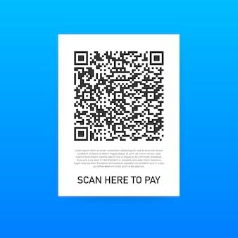 Zum bezahlen scannen. smartphone zum scannen von qr-code auf papier für details