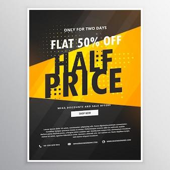 Zum halben preis verkaufen broschüre flyer werbe vorlage in gelb und schwarz thema
