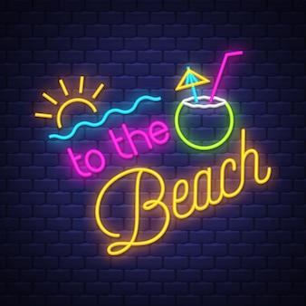 Zum strand leuchtreklame schriftzug