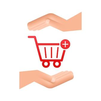 Zum warenkorb-symbol mit den händen hinzufügen. einkaufswagen-symbol. vektor-illustration.