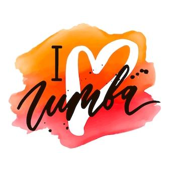 Zumba-beschriftungsaquarellworttextfarben-pop-arten-tanz