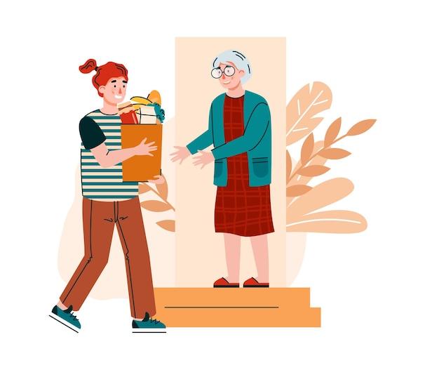 Zur türzustellung für ältere menschen mit freiwilligen