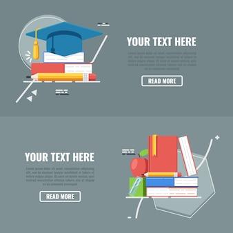 Zurück zu den Schulfahnen eingestellt mit Hut und Büchern.