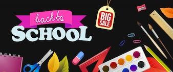 Zurück zu Schule, großer Verkaufsbeschriftung mit bunten Versorgungen
