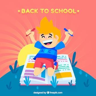 Zurück zu Schulhintergrund mit glücklichem Jungen