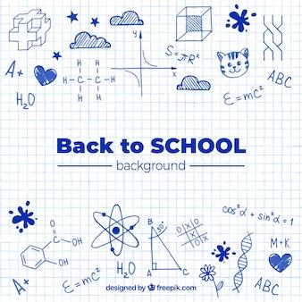 Zurück zu Schulhintergrund mit Hand gezeichneter Art
