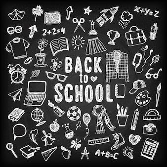 Zurück zur Schule Illustration Sketch Kreide Set