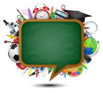 Zurück zur Schule mit einer Tafel, die wie eine Sprechblase geformt ist.