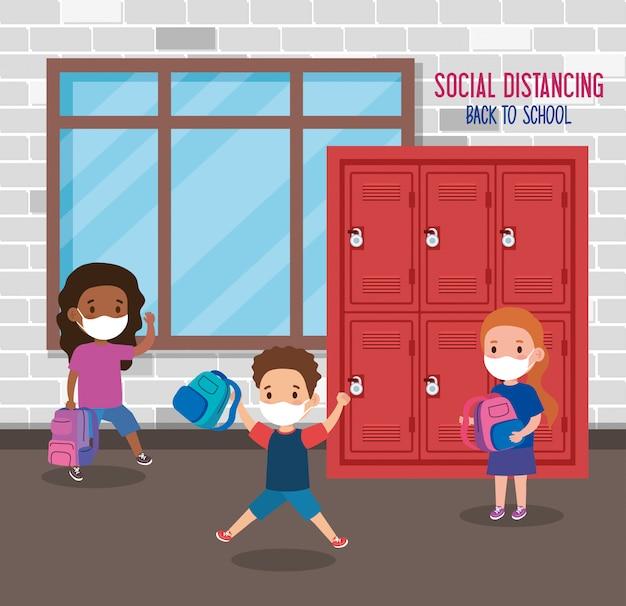Zurück in der schule für ein neues normales lebensstilkonzept schützen kinder, die eine medizinische maske und soziale distanz tragen, das coronavirus covid 19 in der schule