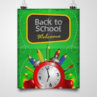 Zurück in der schule: poster willkommen