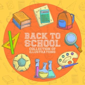 Zurück in der schule: sammlung illustrationen