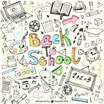 Zurück in der schule skizzen in notebook