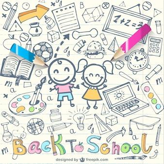 Zurück in der schule skizzen in notebook Kostenlosen Vektoren