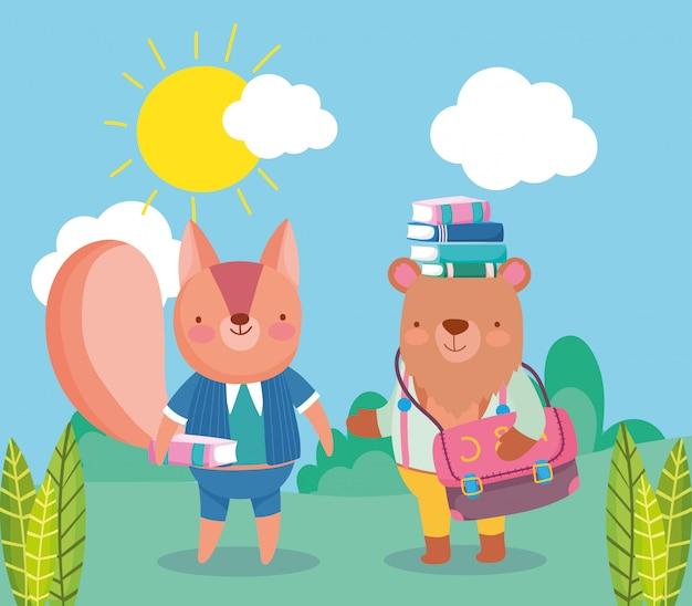 Zurück in der schule, tragen sie bücher in kopf rucksack eichhörnchen
