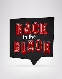 Zurück in der schwarzen nachricht. schwarzer freitag-konzept