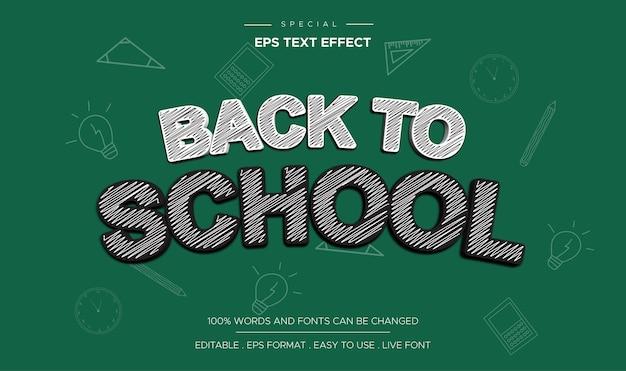 Zurück in die schule bearbeitbare texteffekt-kritzel-stil-cartoon-comic-titelvorlage