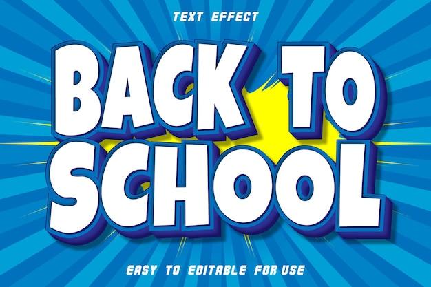 Zurück in die schule bearbeitbarer texteffekt präge comic-stil