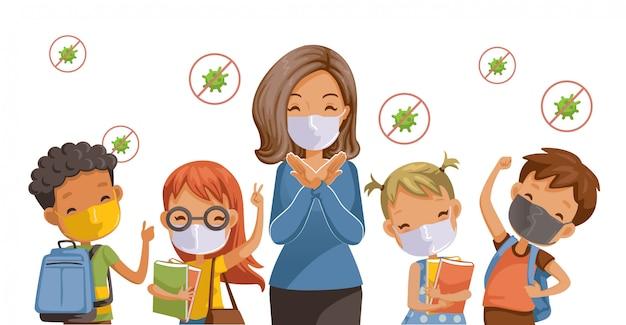 Zurück in die schule für ein neues normales konzept. vorbeugung von krankheiten, covid-19. kinder mit hygienemasken. die geste der lehrer hört auf. coronavirus im zusammenhang.