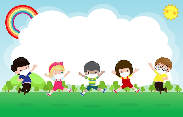 Zurück in die schule für ein neues normales lifestyle-konzept. glückliche gruppenkinder, die gesichtsmaske und soziale distanz tragen, schützen coronavirus covid-19, das auf wiese in der schule springt, lokalisiert auf hintergrundillustration
