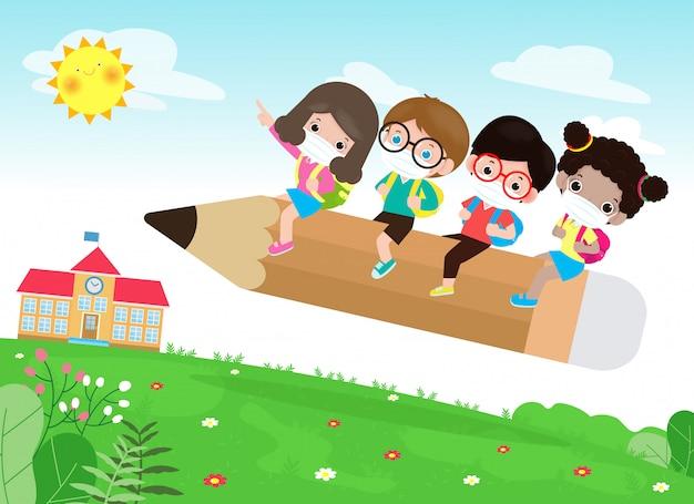 Zurück in die schule für ein neues normales lifestyle-konzept. glückliche gruppenkinder, die gesichtsmaske und soziale distanz tragen, schützen coronavirus covid-19, illustration von kindern, die auf großem bleistift fliegen, der in der schule fliegt
