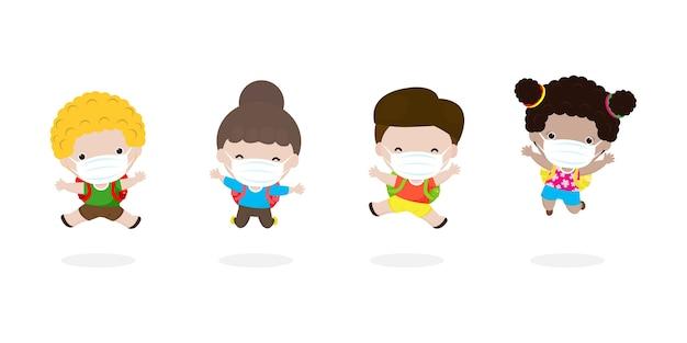 Zurück in die schule für ein neues normales lifestyle-konzept. glückliche kinder springen tragen gesichtsmaske schützen corona-virus oder covid isoliert auf weißem hintergrund illustration