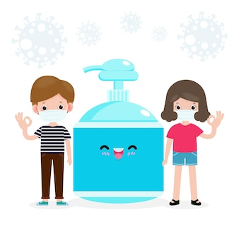 Zurück in die schule für ein neues normales lifestyle-konzept. glückliche schüler nette teenager, die gesichtsmaske und alkoholgel oder handwaschgel und soziale distanzierung tragen, schützen coronavirus oder covid-19 gesunder hintergrund