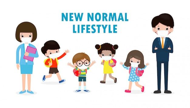 Zurück in die schule für ein neues normales lifestyle-konzept. glückliche schülerkinder und -lehrer, die gesichtsmaske tragen, schützen koronavirus oder covid 19 an der schule lokalisiert auf weißer hintergrundillustration