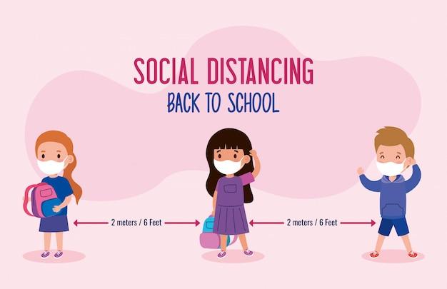 Zurück in die schule für ein neues normales lifestyle-konzept, kinder mit medizinischer maske und sozialer distanzierung