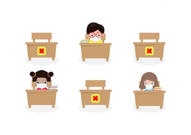 Zurück in die schule für neue normale lebensstil banner soziale distanzierung im klassenzimmer konzept