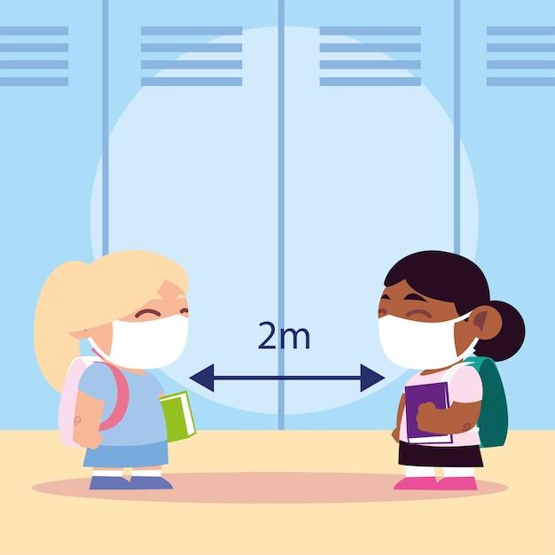 Zurück in die schule für neue normale, süße kleine mädchen mit medizinischer maske, halten sie soziale distanz illustration